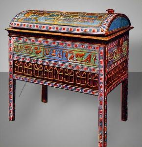 Chest of Inlaid Wood Decorated with Blue Faience Tiles