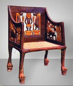 Lion Footed Chair with Figures of Bes and Tauret on the Back Panel