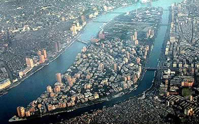View of Zamalek, Cairo from a Helicopter