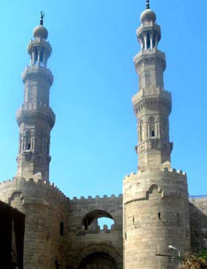A view of the upper part of Bab Zuwayla including the minarets of the Mosque of al-Mu'ayyad